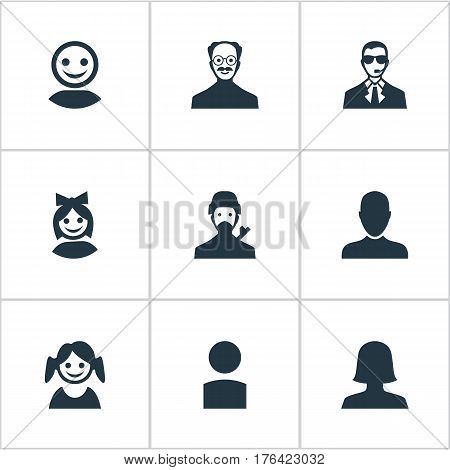 Vector Illustration Set Of Simple Avatar Icons. Elements Internet Profile, Whiskers Man, Girl Face And Other Synonyms Business, User And Avatar.