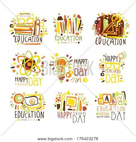 Happy Teachers Day Colorful Graphic Design Template Logo Set , Hand Drawn Vector Stencils. Artistic Promo Posters With Funky Font And Fun Design Elements.