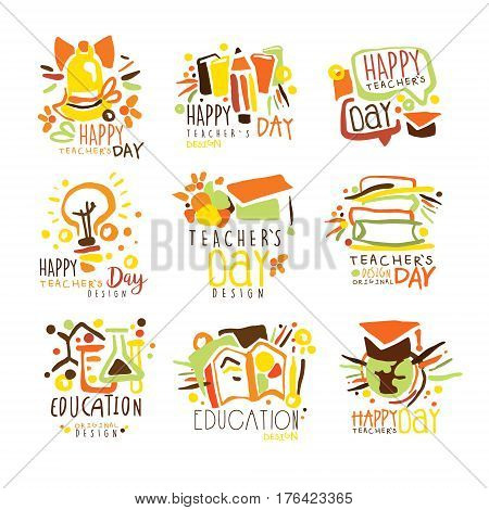 Happy Teachers Day Colorful Graphic Design Template Logo Series, Hand Drawn Vector Stencils. Artistic Promo Posters With Funky Font And Fun Design Elements.