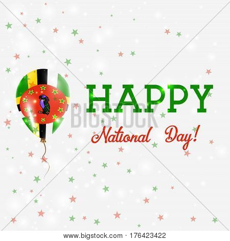 Dominica National Day Patriotic Poster. Flying Rubber Balloon In Colors Of The Dominican Flag. Domin