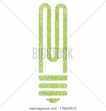 Fluorescent Bulb vector textured icon for overlay watermark stamps. Fabric light green vectorized texture. Symbol with scratched design. Rubber seal stamp with fiber textile structure.