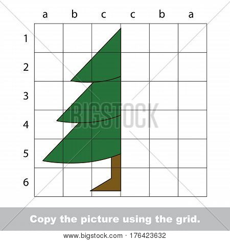 Vector kid educational game with easy game level for preschool kids education, finish the simmetry picture using grid sells, the funny drawing kid school. Drawing tutorial for half Evergreen Tree.