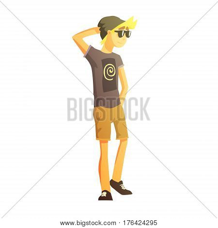 Guy In Shades, Black Hat, Shorts And T-shirt, Young Person Street Fashion Look With Mass Market Clothes. Stylish Teenager Every Day Personal Style Clothing Illustration