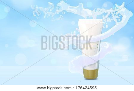 Cosmetic add in water whirlpool. BB cream bottle mock up in water splash on blue bokeh background. Foundation tube ads template in water tornado. 3D illustration