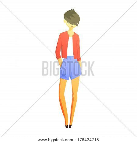 Girl In Blue Shirts And Red Jacket With Cool Short Hairstyle, Young Person Street Fashion Look With Mass Market Clothes. Stylish Teenager Every Day Personal Style Clothing Illustration