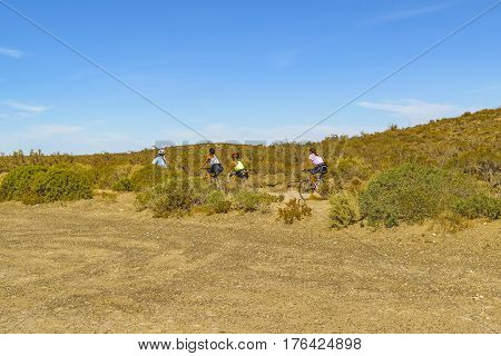Group Of Women Riding Bicycle At Nature