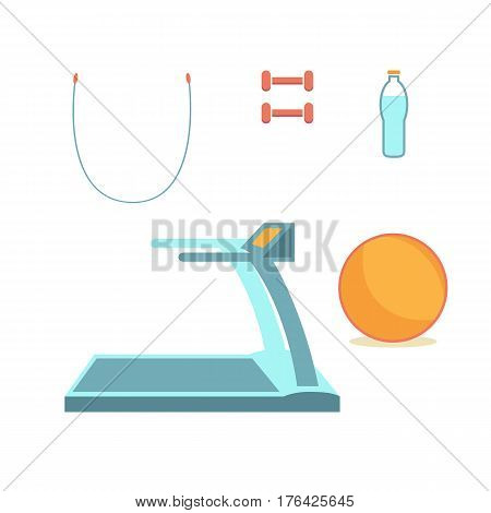 Symbols flat design icons set. Vector infographics sports equipment elements. For a healthy lifestyle. Dumbbells, a rope, a ball, a running track and a bottle of water to quench your thirst