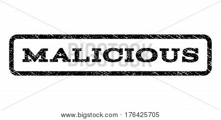 Malicious watermark stamp. Text caption inside rounded rectangle frame with grunge design style. Rubber seal stamp with dust texture. Vector black ink imprint on a white background.