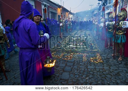 Antigua Guatemala - April 17 2014: Man wearing ancient Roman military clothes and purple robes in a procession during the Easter celebrations in the Holy Week in Antigua Guatemala.