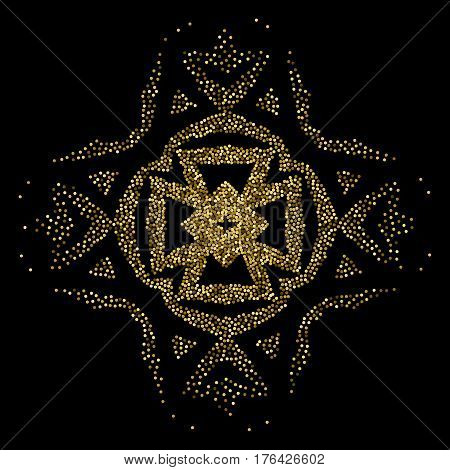 A golden geometric element on a black background to create ethnic motifs. Figure of mild points for the design of the surface.