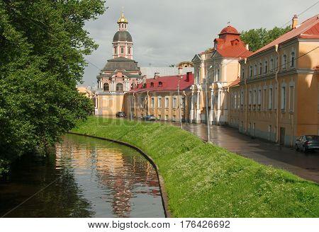 Saint Alexander Nevsky Lavra (Saint Alexander Nevsky Monastery) in Saint Petersburg after the rain