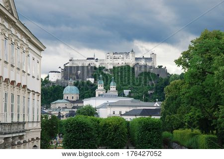 View on St. Peter's Abbey and the Hohensalzburg fortress Austria