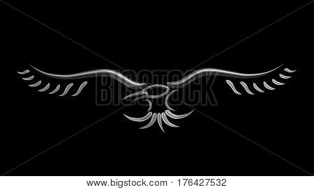Crow raven metallic sign symbol tribal tatoo style 3d illustration render.