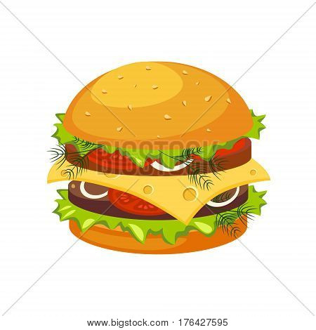 Double Steak Burger With Cheese, Street Fast Food Cafe Menu Item Colorful Vector Icon. Isolated Eatable Object For Snack Lunch Representing Unhealthy Eating Habits.