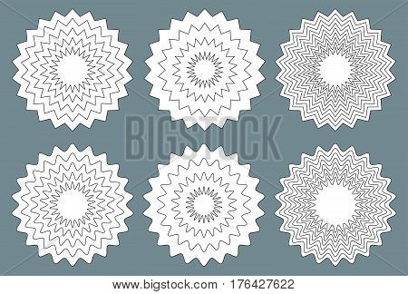 Radial Contour Elements With Distorted Decorative With Jagged Edges.