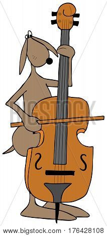 Illustration of a brown dog playing a bass fiddle