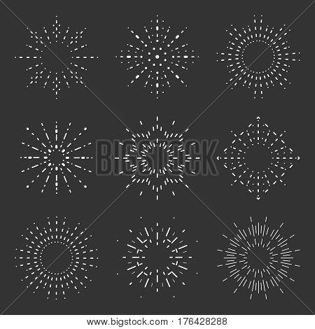 Radiant sunburst lineart icons design set template vector illustration