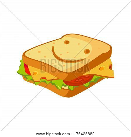 Sandwich With Cheese, Tomato And Salad, Street Fast Food Cafe Menu Item Colorful Vector Icon. Isolated Eatable Object For Snack Lunch Representing Unhealthy Eating Habits.