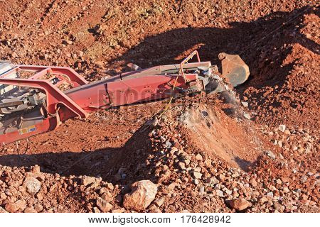 Stone crusher on a road construction site