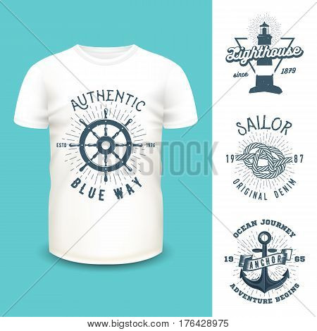 T-shirt mockup with clothing labels.Vector steering wheel, lighthouse, marine knot and anchor prints. Realistic mockup and nautical emblems used for textile goods or banner design.