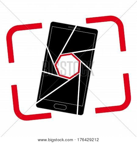 Icon or logo with a picture of a smartphone. Aperture and frame of the viewfinder. A simple image.