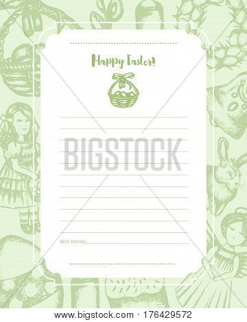 Happy Easter - monochromatic vector hand drawn template card. Realistic basket, egg, cake, angel, chaplet, rabbit, violet willow, girl, candle, bell, chicken.