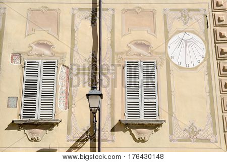 Varallo, Italy - 6 September 2015: Architecture detail of a house at Varallo Sesia village Piedmont Italy