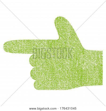 Hand Pointer Left vector textured icon for overlay watermark stamps. Fabric light green vectorized texture. Symbol with dirty design. Rubber seal stamp with fiber textile structure.