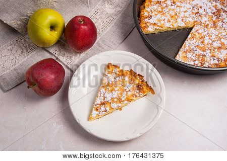 Apple Pie With Fresh Fruits On Light Marble Background.