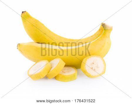 CloseUp banana isolated on white background. food