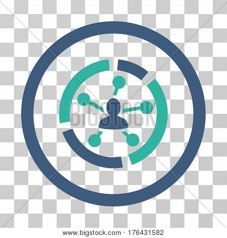 Relations Diagram icon. Vector illustration style is flat iconic bicolor symbol cobalt and cyan colors transparent background. Designed for web and software interfaces.