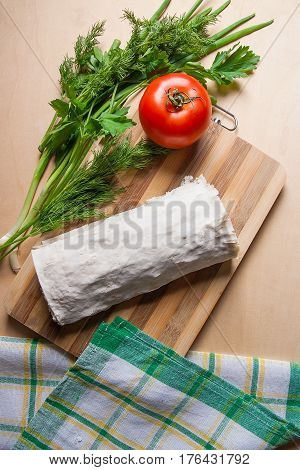 Pita Bread Or Lavash Wrapped With Cottage Cheese Or Curd, Chicken, Tomatoes And Herbs - Dill, Onion,