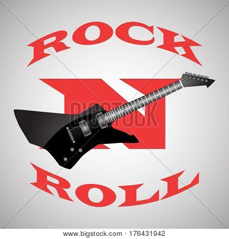 poster to the world day of rock n roll , black guitar.