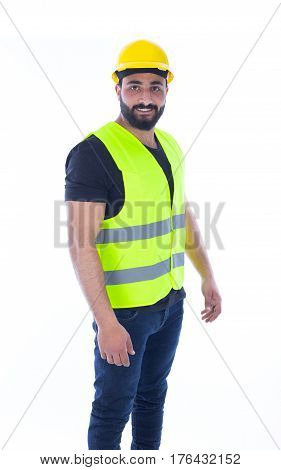 Worker wearing hamlet and vest - isolated