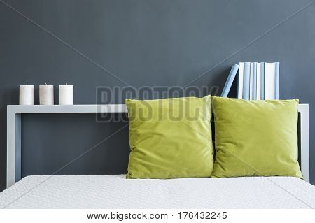 Bed With Green Pillows