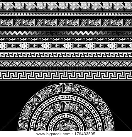Ethnic geometric design set. sign border decoration elements in white color isolated on black background. vector illustration. Could be used as divider frame etc