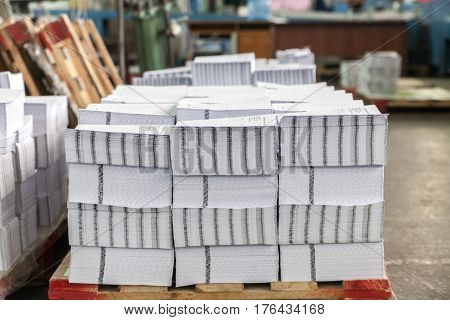 Gatherings in the printing house on pallets poster