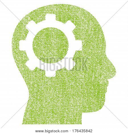 Intellect Gear vector textured icon for overlay watermark stamps. Fabric light green vectorized texture. Symbol with dust design. Rubber seal stamp with fiber textile structure.