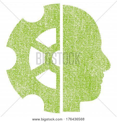Intellect vector textured icon for overlay watermark stamps. Fabric light green vectorized texture. Symbol with scratched design. Rubber seal stamp with fiber textile structure.