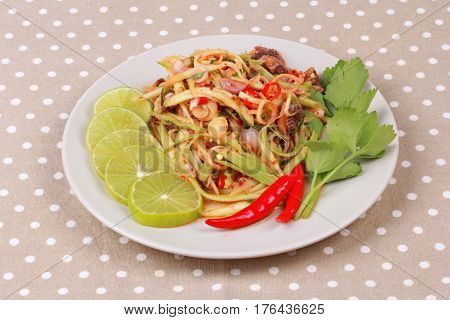Spicy Minced Mango Salad With Soft-boiled Blood Cockles.
