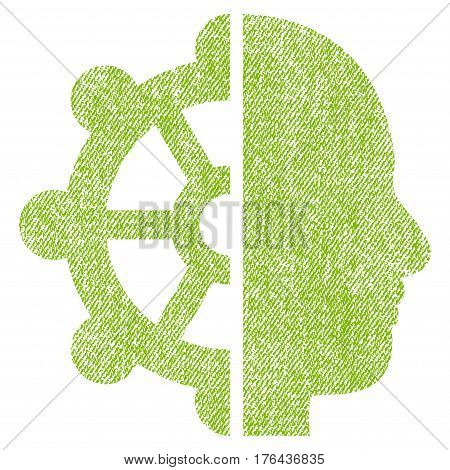 Intellect vector textured icon for overlay watermark stamps. Fabric light green vectorized texture. Symbol with dirty design. Rubber seal stamp with fiber textile structure.