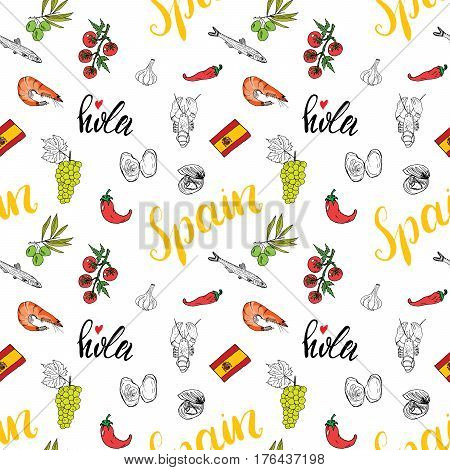 Spain seamless pattern doodle elements Hand drawn sketch spanish food shrimps olives grape flag and lettering. vector illustration background