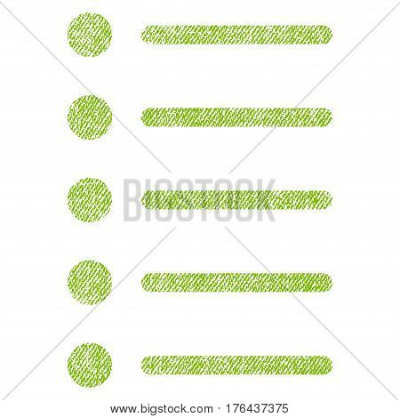 Items vector textured icon for overlay watermark stamps. Fabric light green vectorized texture. Symbol with dirty design. Rubber seal stamp with fiber textile structure.