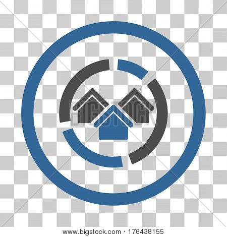 Realty Diagram icon. Vector illustration style is flat iconic bicolor symbol cobalt and gray colors transparent background. Designed for web and software interfaces.