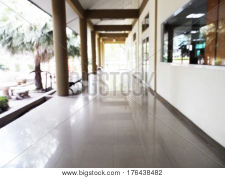Blurred walkway of library can be background,Abstract blurred photo of modern library.