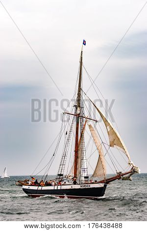 Rostock, Germany - August 2016: Sailing ship on the baltic sea. Hanse-Sail Warnemuende at port Rostock, Mecklenburg-Vorpommern, Germany. Tall Ship.Yachting and Sailing travel. Cruises and holidays