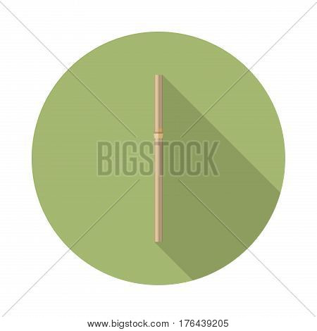flat vector bamboo straw icon with long shadow in to green round geometric shape as zero waste bpa and plastic free concept