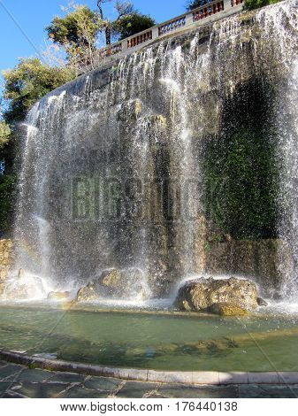 Waterfall in Nice France, on local walk, viewpoint.