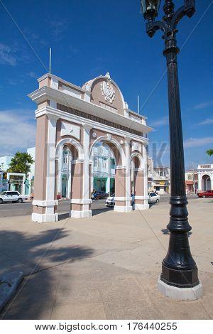 Cienfuegos Cuba - January 28 2017: The Arch of Triumph in Jose Marti Park Cienfuegos (UNESCO World Heritage) Cuba. Cienfuegos capital of Cienfuegos Province is a city on the southern coast of Cuba.The city is dubbed La Perla del Sur