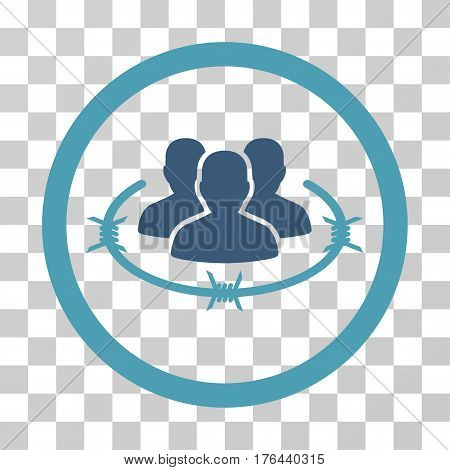 Concentration Camp icon. Vector illustration style is flat iconic bicolor symbol cyan and blue colors transparent background. Designed for web and software interfaces.